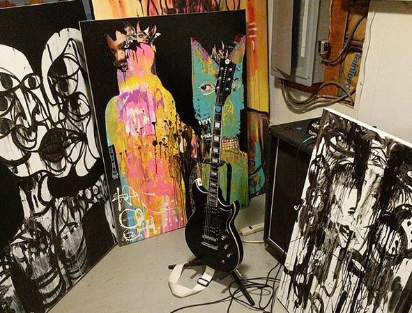 3 paintings and guitar paul andress